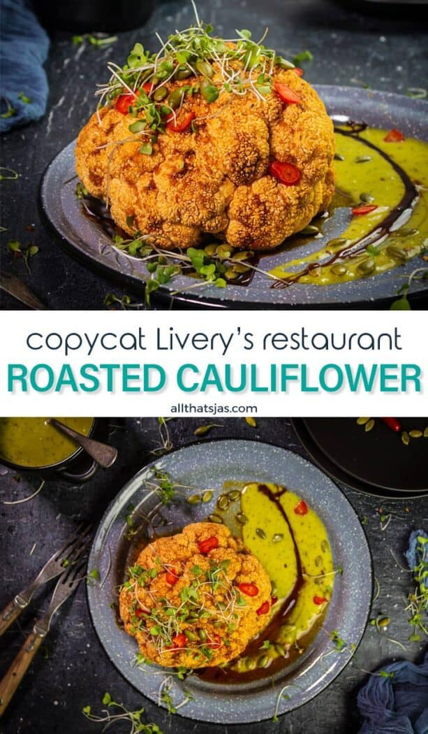 Two photos of vegan roasted cauliflower dish with text overlay in the middle