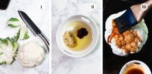 3 photos showing how to roast cauliflower