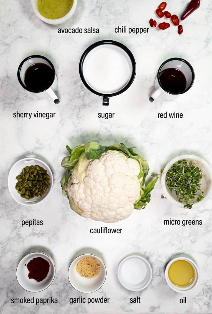 Ingredients for copycat roasted cauliflower recipe.