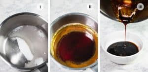 Three photos with pots showing how to make sauce.