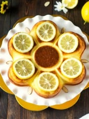 A cake with lemons.