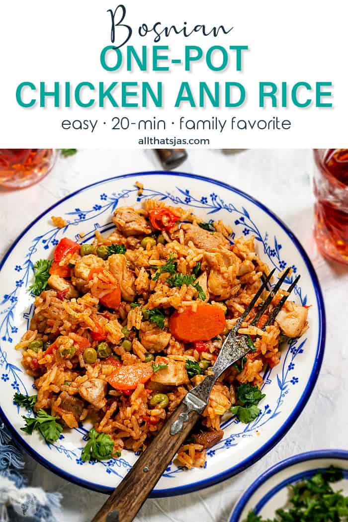 Bosnian one-skillet chicken and rice recipe with text overlay