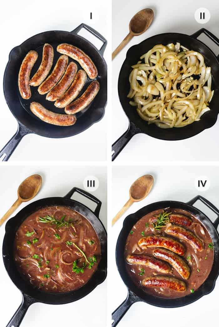 4 steps to making bangers and onion gravy