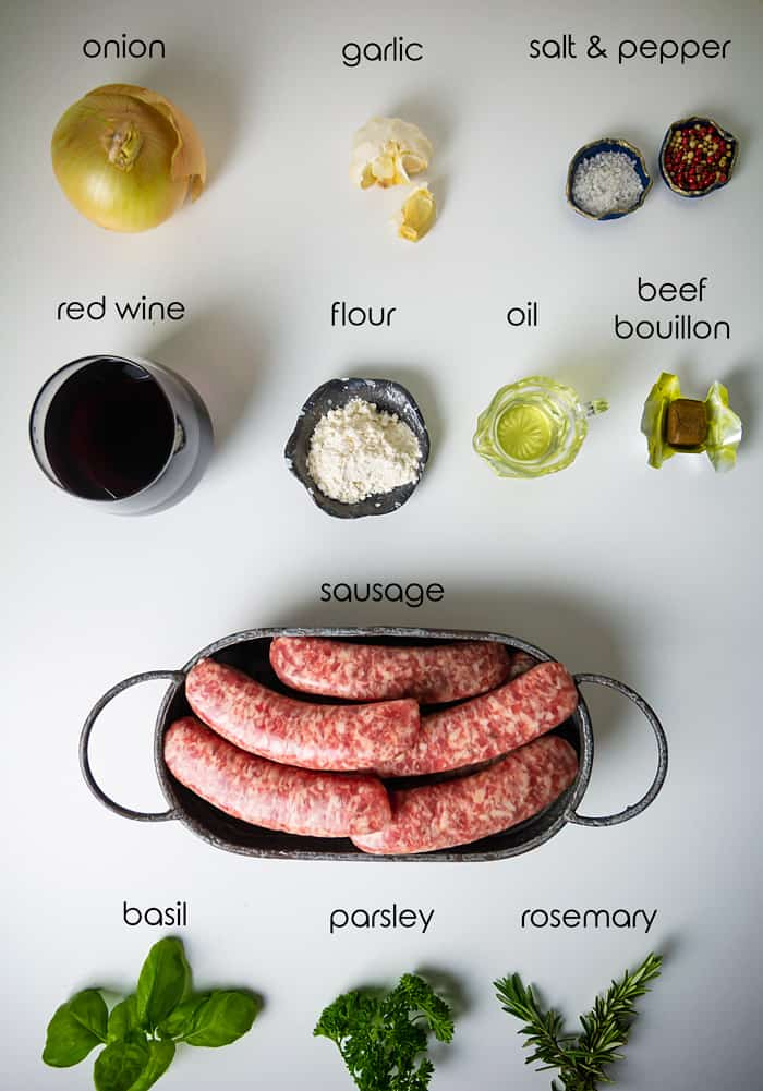 Ingredients for bangers and onion sauce