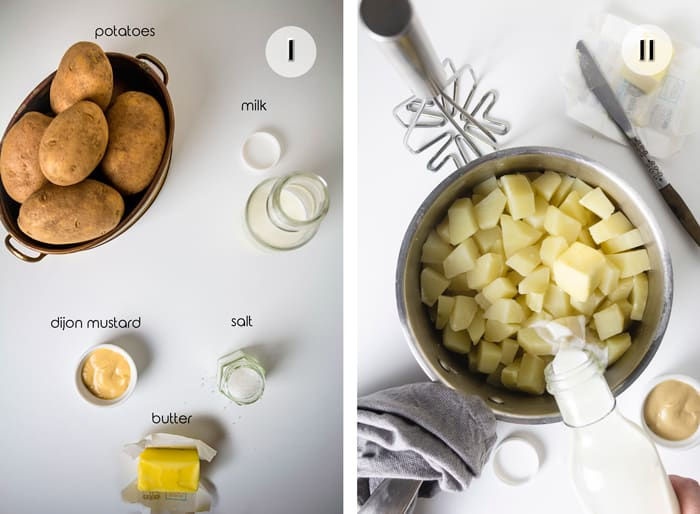 Ingredients and instructions on how to make mashed potatoes