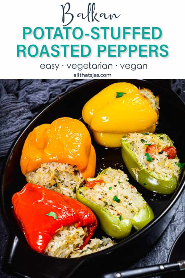 A close up of bell peppers stuffed with potatoes and with text overlay.