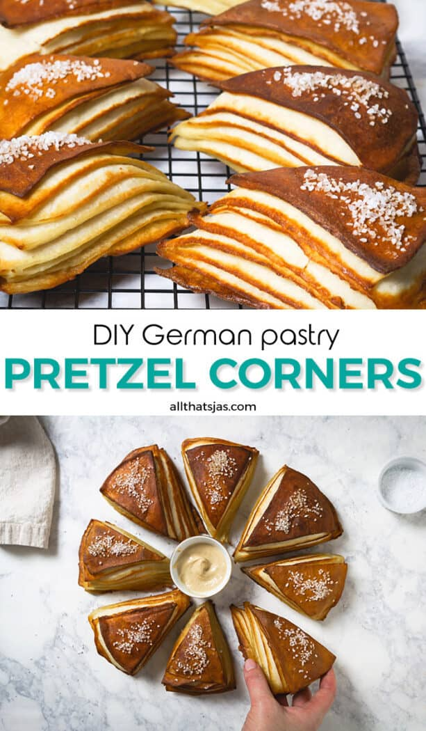 Two-picture image of German pretzels with text overlay in the middle.
