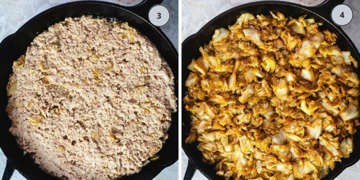 Skillet with the meat layer and then with cabbage layer.