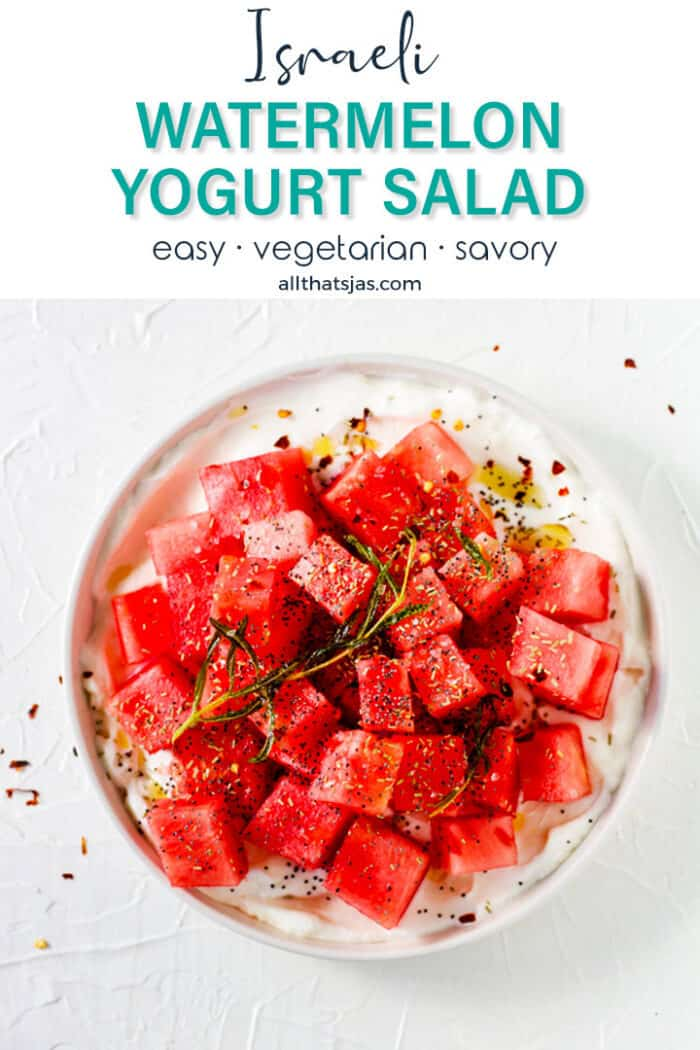 A flat lay of a white shallow plate with watermelon salad and text overlay.