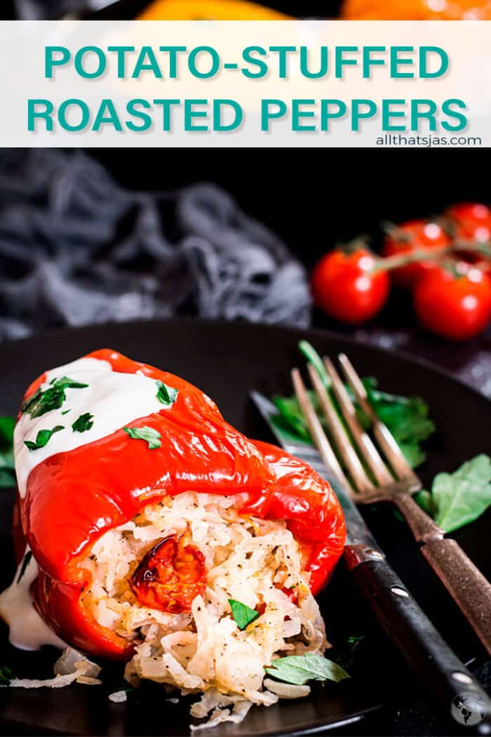 Red bell pepper stuffed with shredded potatoes with text overlay
