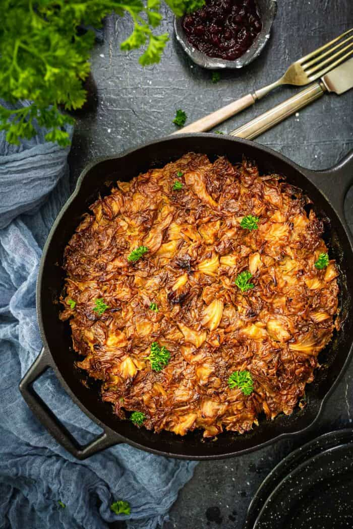 Swedish cabbage dish in a cast iron skillet