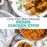 Two photos collage of Indian chicken tikka with text in the middle