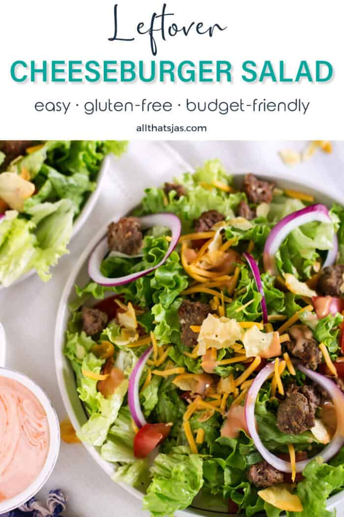 A bowl full of fresh salad greens and leftover cheeseburger pieces with text overlay.