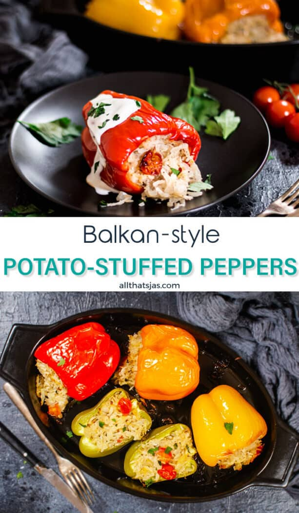 Two part photo with pictures of roasted peppers and potato dish with text in the middle