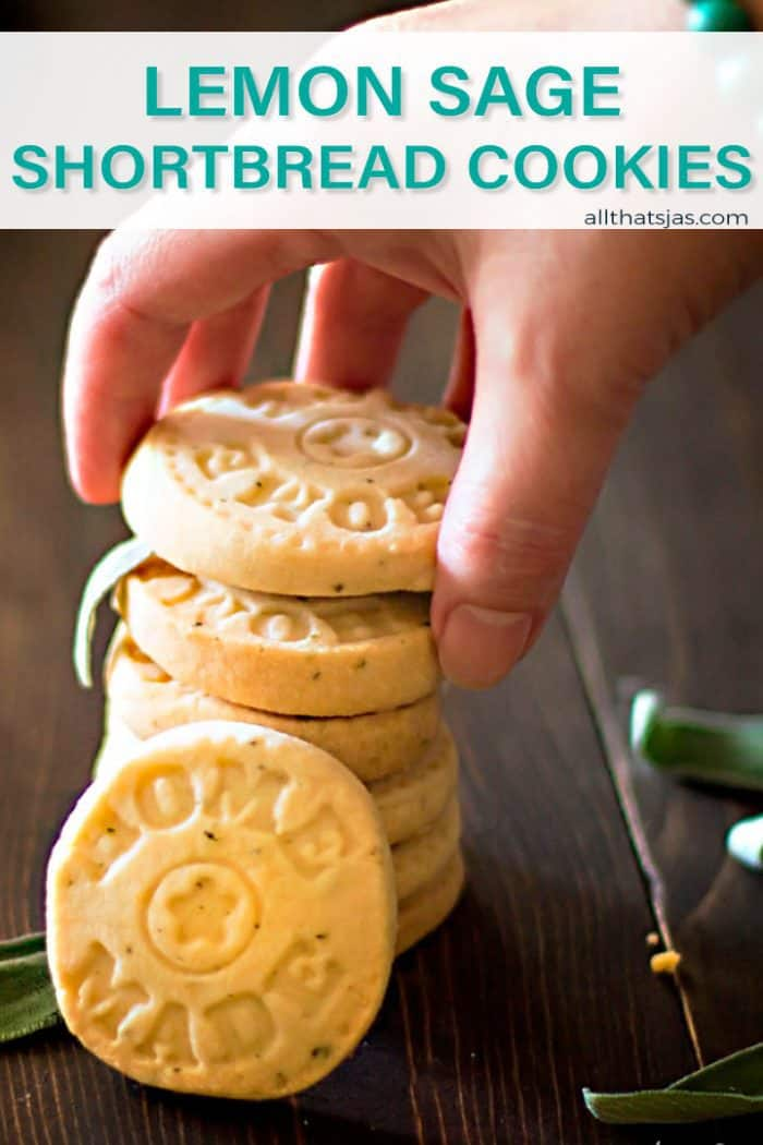 A close up of cookies with a hand and text overlay