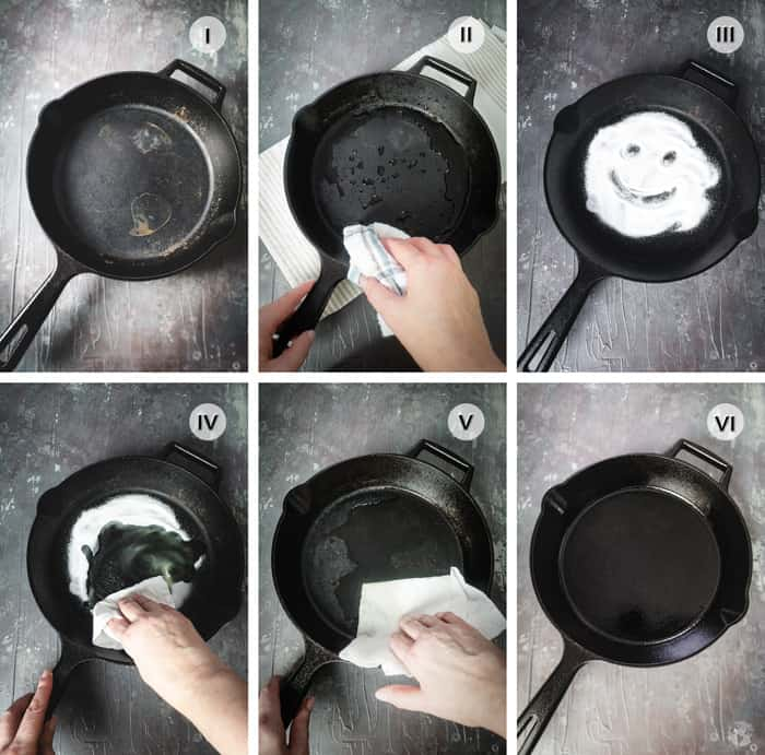 How to tutorial steps on cleaning and maintainig cast iron skillet.