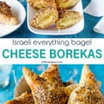 Two photo image of Israeli borekas with cheese and text overlay in the middle.