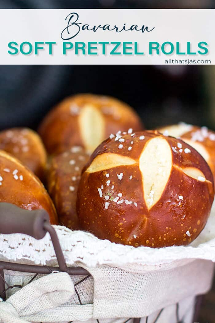 Pretzel buns in a basket with text overlay.