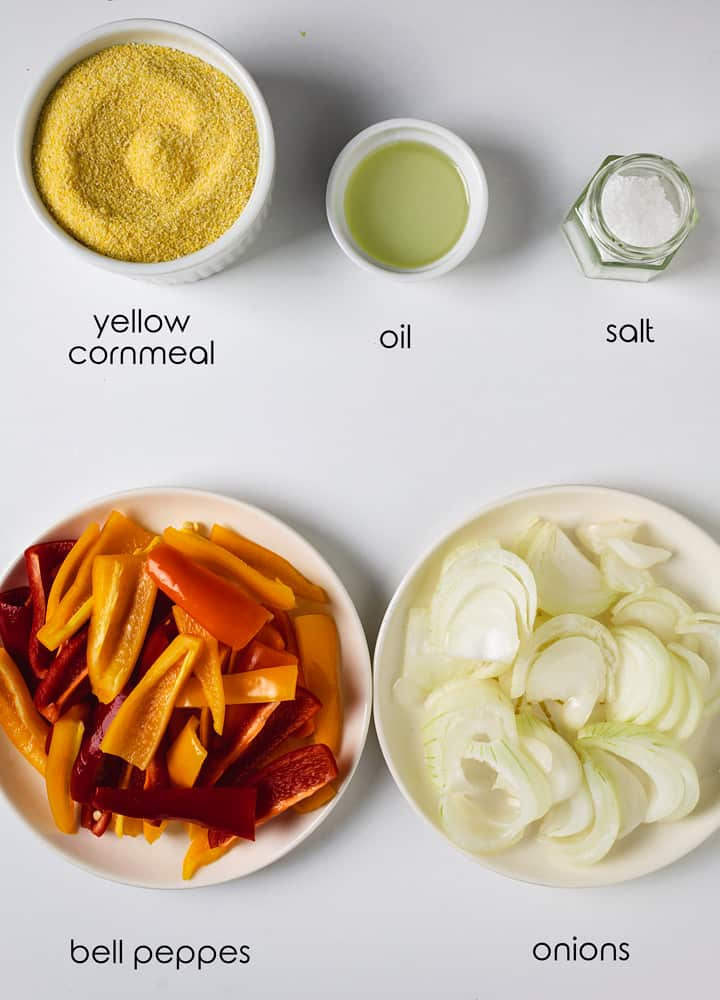 Ingredients for making polenta with vegetables.