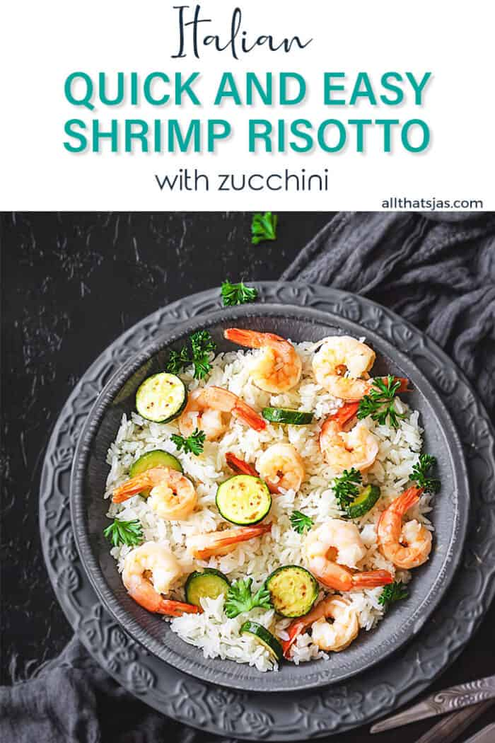 Risotto shrimp recipe with text overlay.