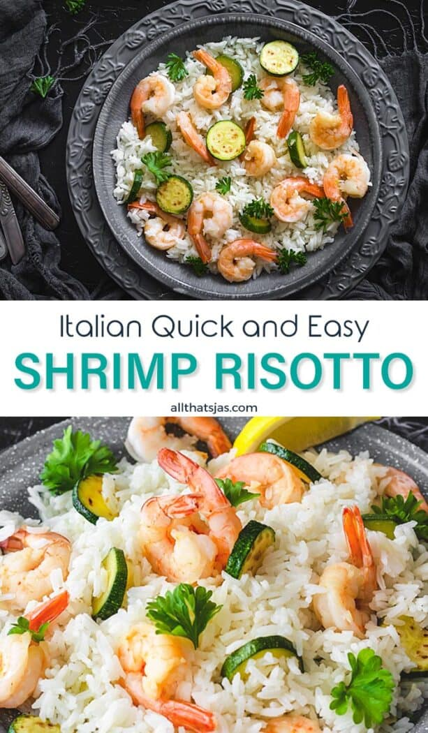 Two photo image with Italian shrimp risotto with text overlay in the middle.