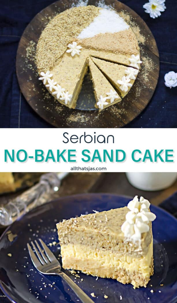 Two photo image of the Serbian no-bake cake with text overlay in the middle.