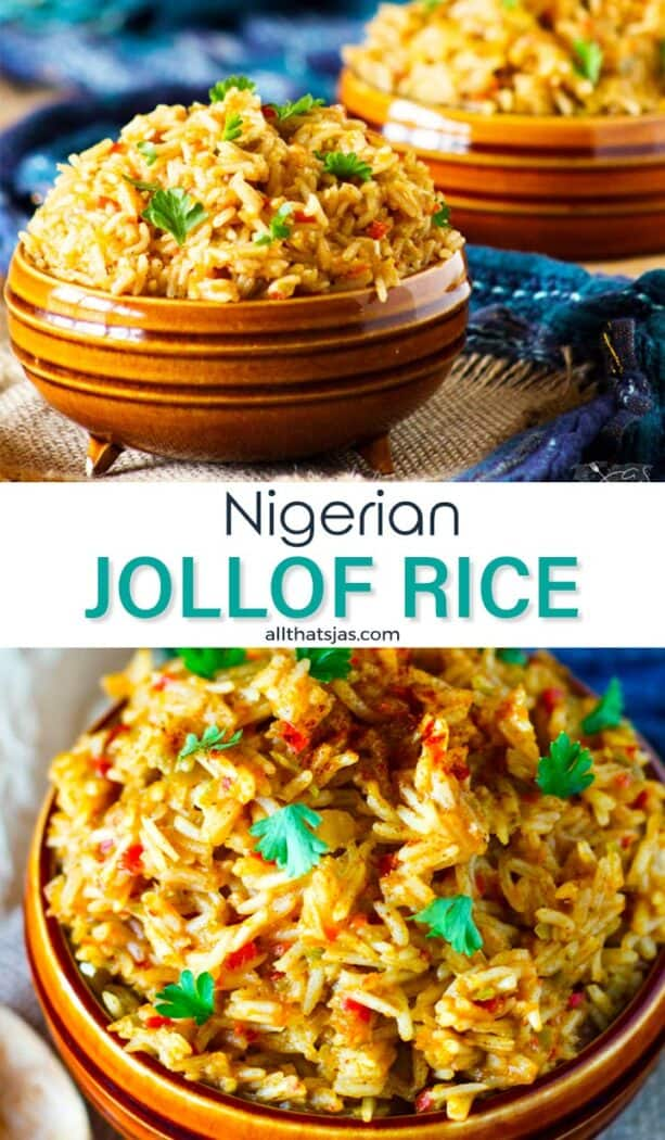 Two photos image of the West African rice recipe with text overlay in the middle.