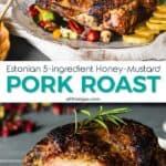 Two photo image of the honey mustard glazed roast with text in the middle.