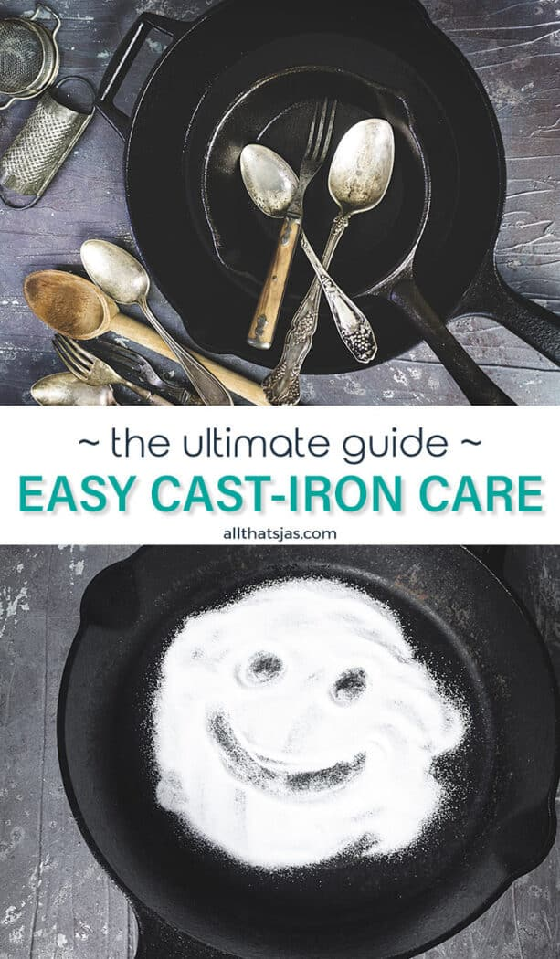 Two photos in one image with cast iron skillets and text in the middle.
