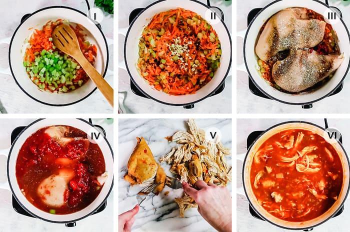 Six steps to making sopa con pollo.