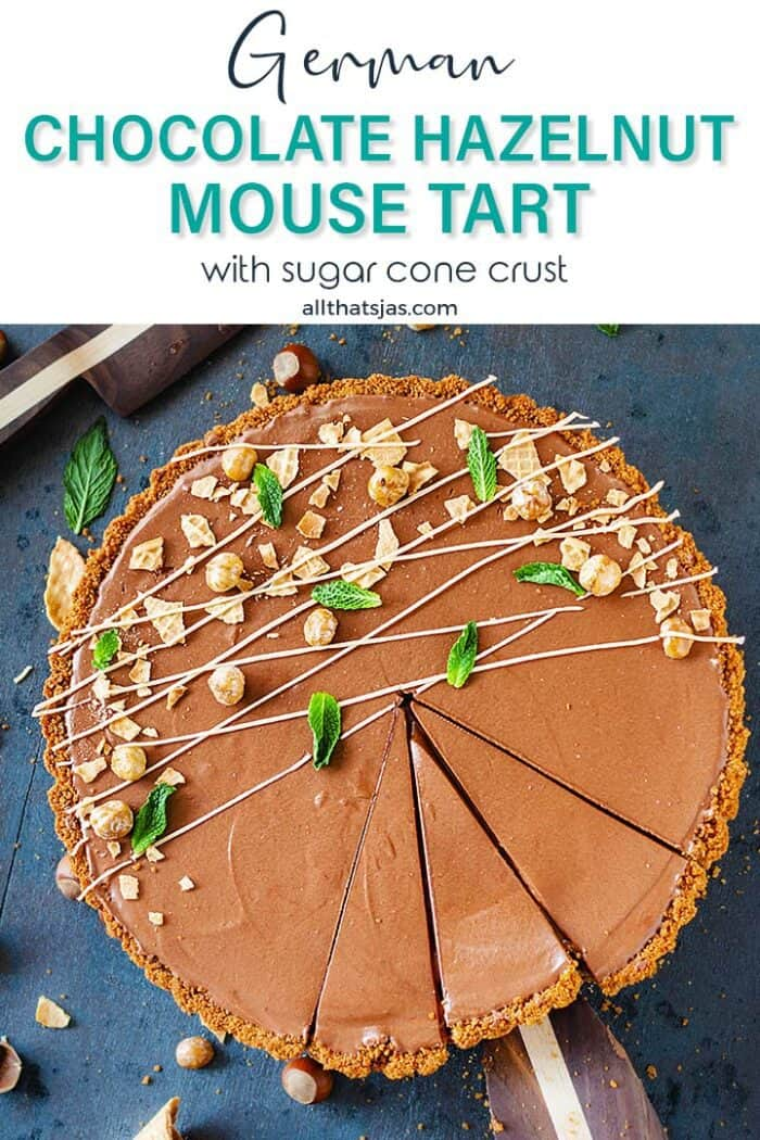 Sliced mousse tart dessert with text overlay.