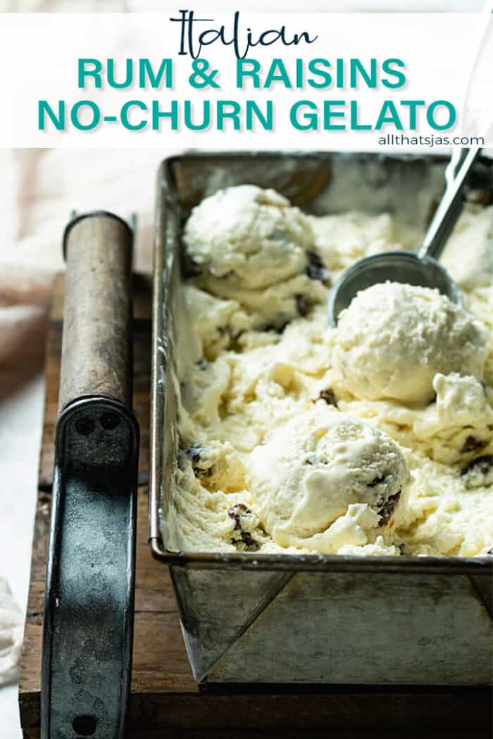 A tray with gelato being scooped out with an ice cream scoop with text overlay.