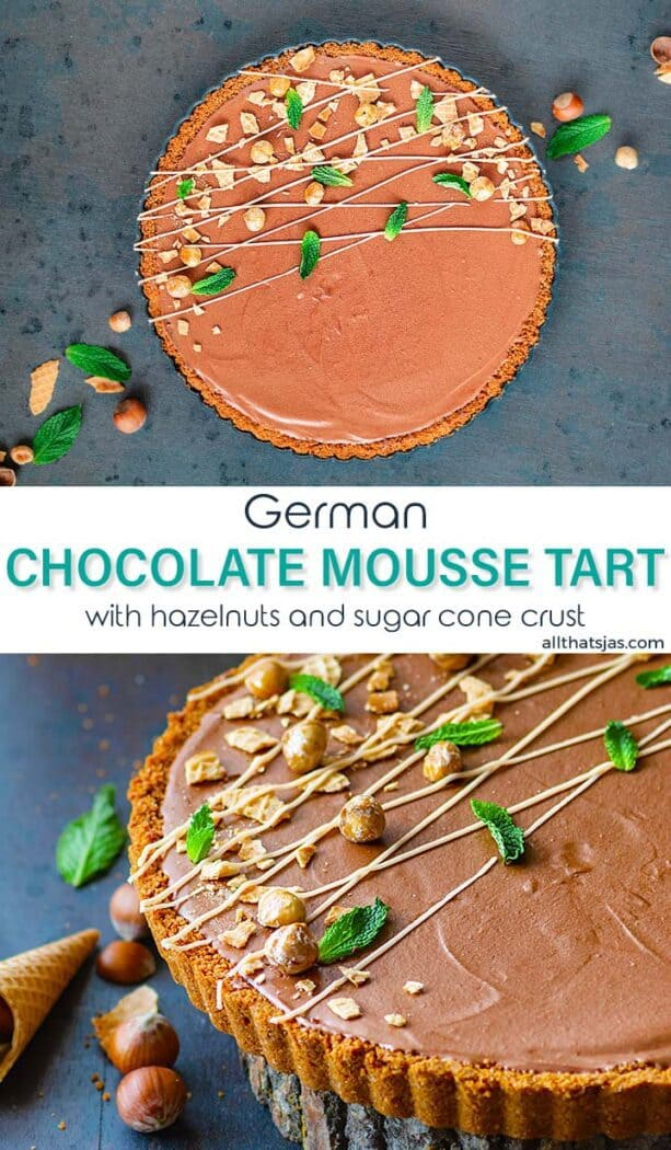 Two photo image of the mousse tart with text overlay in the middle
