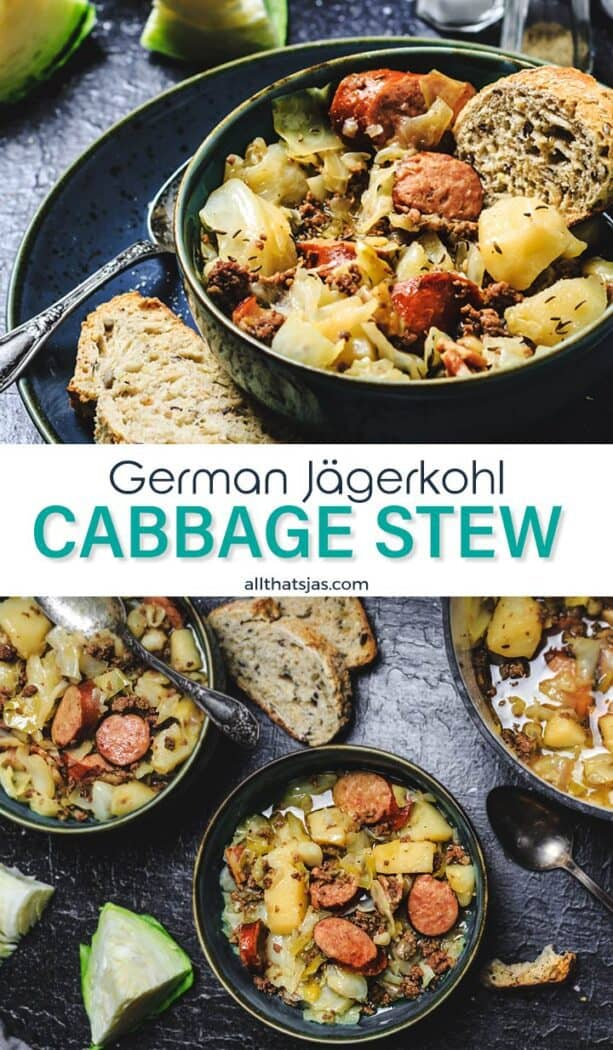 Two photo image of cabbage stew with text overlay in the middle