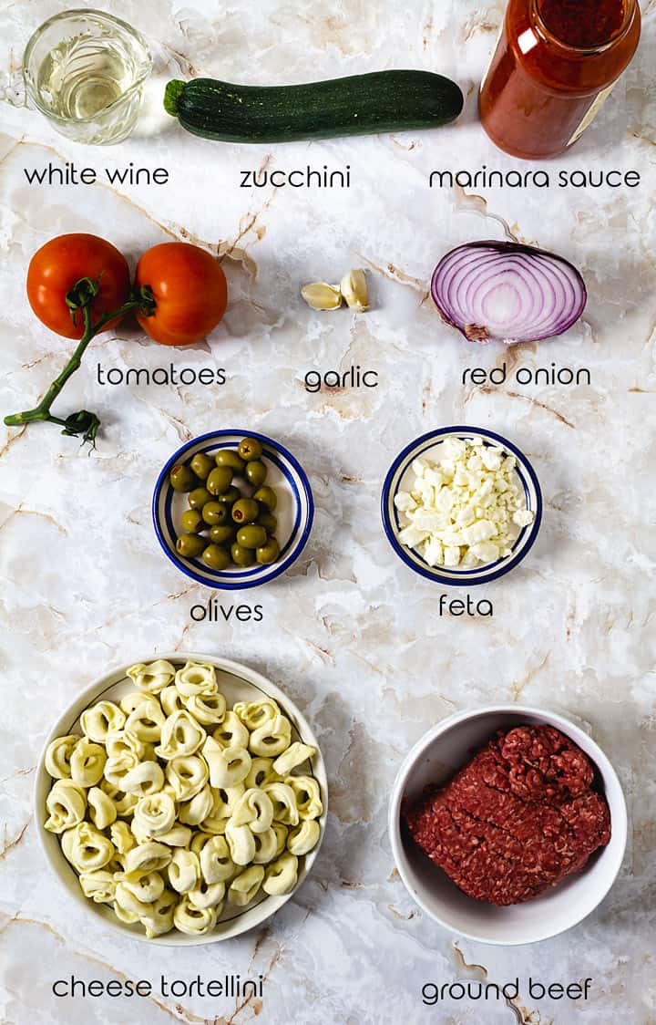 Ingredients for this Greek tortellini dish