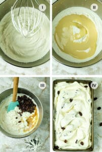 Four steps to making Italian gelato with rum and raisins