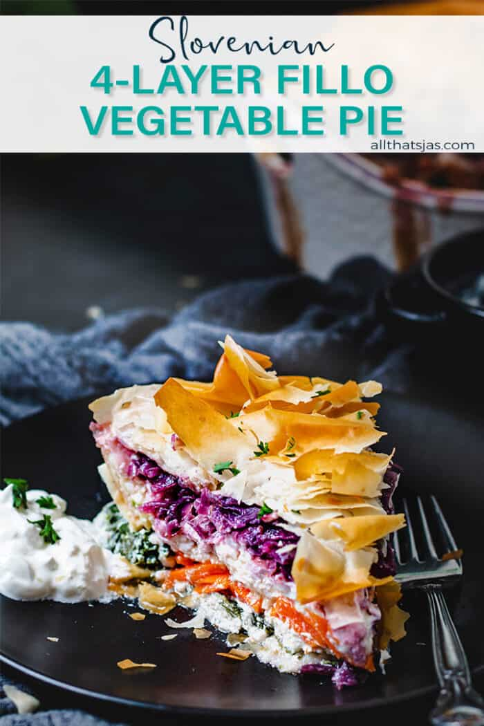 Frontal shot of a slice of Slovenian savory vegetable pie with text overlay.