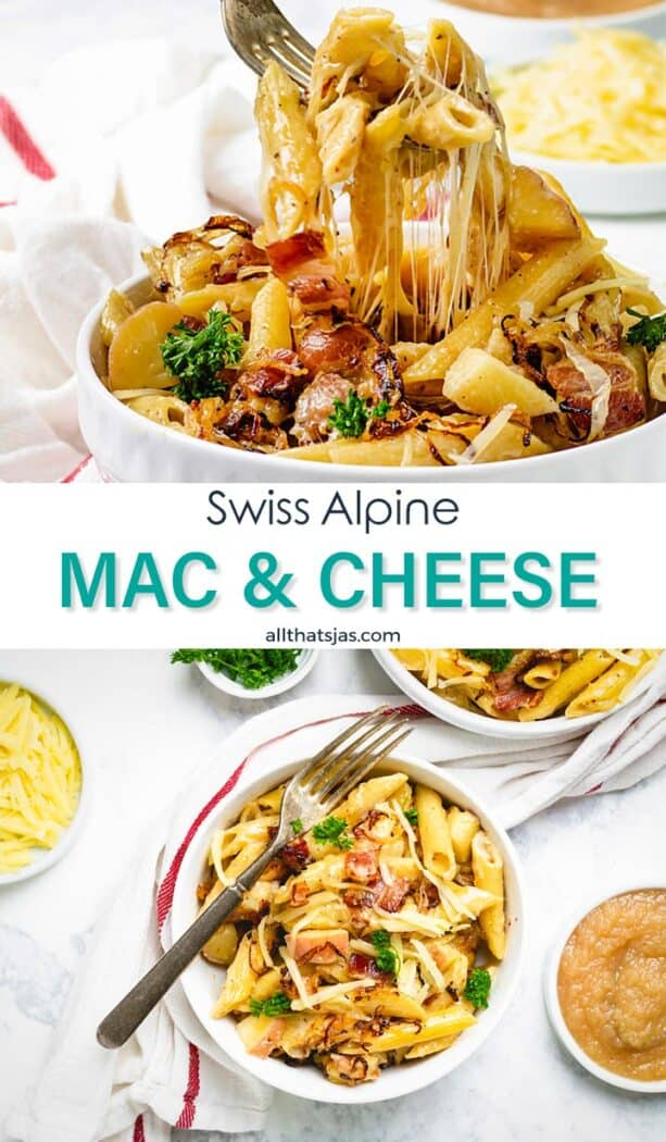 Two photo image of Swiss style pasta with cheese separated by text overlay