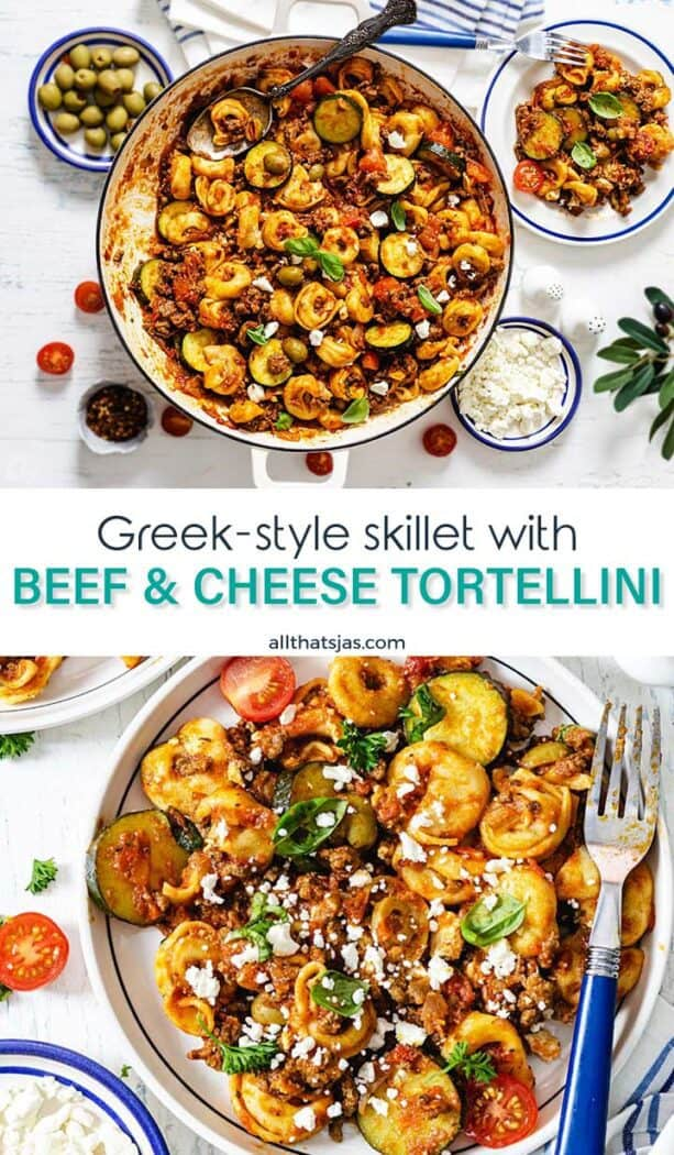 Two photo image of tortellini dish from Greece with text overlay in the middle