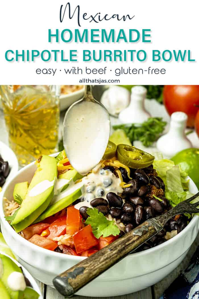 Spoon with chipotle sauce over burrito bowl with text overlay