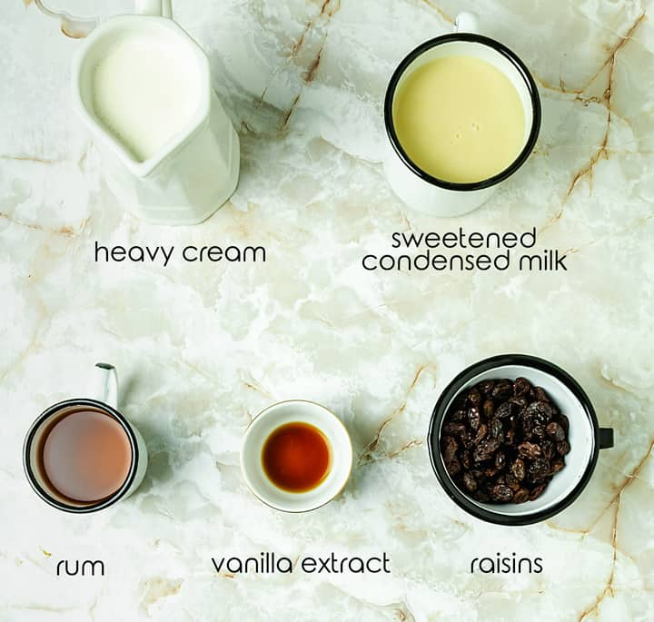 Ingredients for Italian gelato