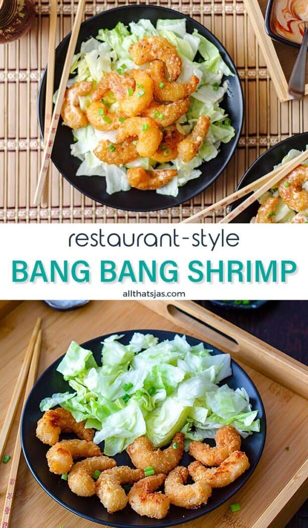 Two photos of the shrimp dish in one image with text overlay in the middle