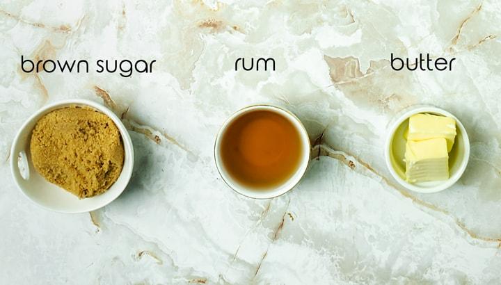 Ingredients for rum sauce
