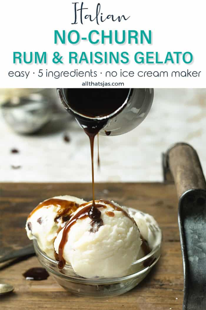 Pouring rum sauce over three scoops of gelato with text overlay