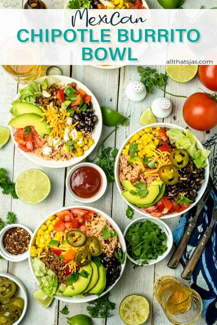 Overhead shot of burrito bowls awith text overlay