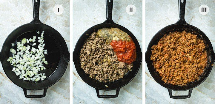Steps to cooking the ground beef layer for this recipe