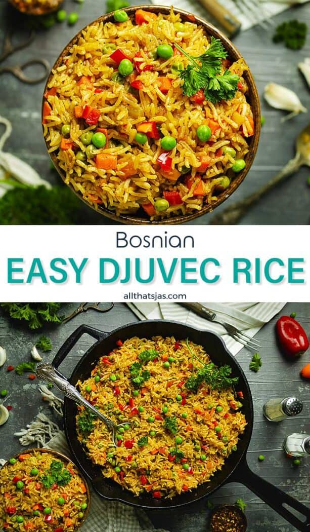 An image with two photos of rice dish with text overlay in the middle.