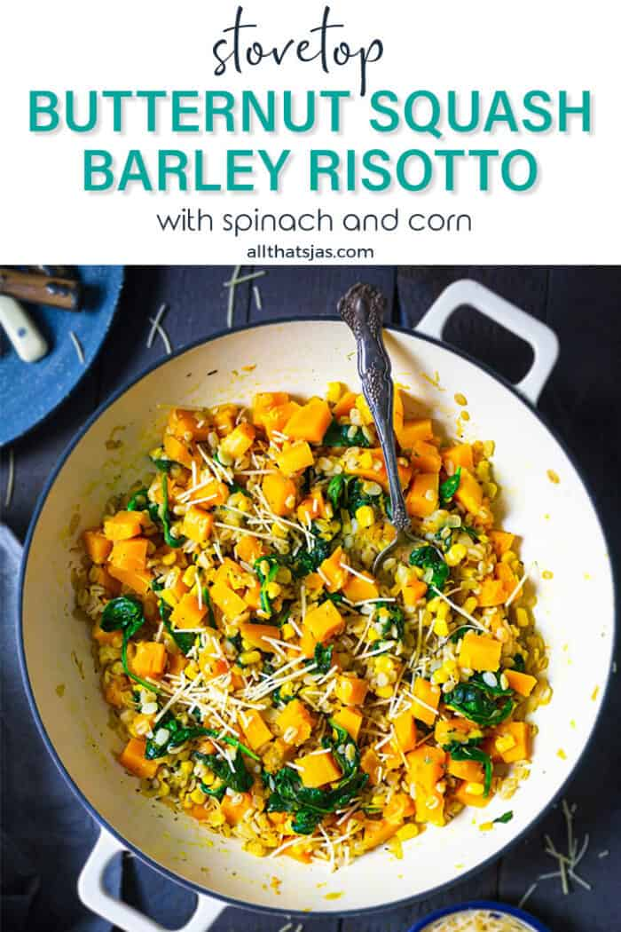 A skillet with cooked barley and squash with text overlay.