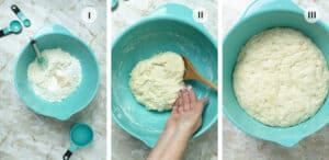 Three steps to making the bread dough