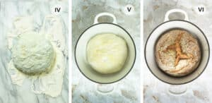 Three steps for baking the bread.